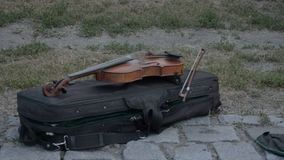 Violin of street musician. On case stock video footage