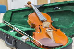 Violin. Stringed musical instrument, violin in its case Stock Photo