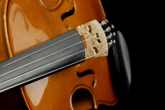 Violin strings and bridge Royalty Free Stock Photo
