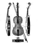 Violin structure, vintage engraving. Vintage engraving describing the construction detail of a violin from different perspectives Royalty Free Stock Photo