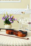 Violin on the table Stock Photo