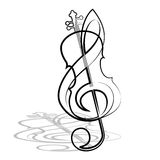 Violin and treble clef. Vector illustration Royalty Free Stock Image