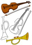 Violin and trumpet - coloring. Books for children vector illustration