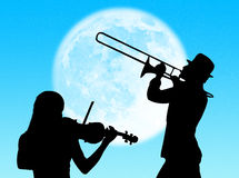 Violin and trumpet players in the moon vector illustration