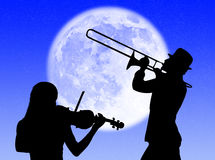 Violin and trumpet players in the moon Royalty Free Stock Photo