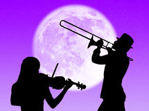 Violin and trumpet players in the moon Royalty Free Stock Photography