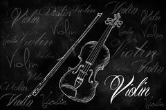 Violin typography sketching on blackboard Stock Photography