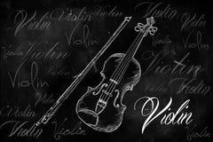 Violin typography sketching on blackboard. Music wallpaper Stock Photography