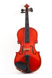 Violin upright on white backgr. Violin front view on white background, top, angled view, portrait orientation, standing upright Stock Images