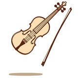 Violin vector. Illustrations of a violin and bow isolated on white backgound + vector eps file Stock Images