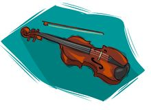 Violin. A vector An image of Hand drawn illustration of musical golden violin Royalty Free Stock Images