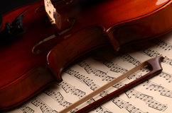 Violin. Vintage violin as background close-up Royalty Free Stock Photography
