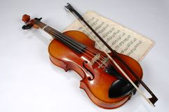Violin and Vintage Music Sheet Royalty Free Stock Photos