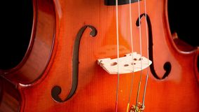 Violin or viola instrument crafted by a luthier turning at black background stock footage