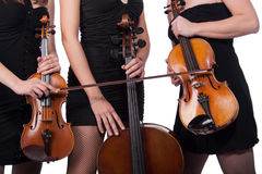 Violin and violoncello players Royalty Free Stock Photo