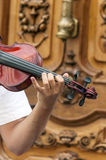 Violin was played by a man,. Is a picture vertical Royalty Free Stock Photo