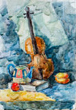 Violin, watercolor drawing. On your canvas vector illustration