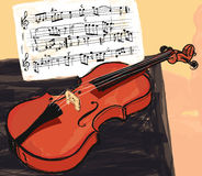 Violin in watercolor style Royalty Free Stock Photography