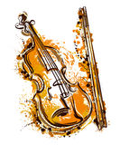Violin in watercolor style. Vintage hand drawn vector illustration Royalty Free Stock Photography