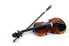 Violin front view on white. royalty free stock photography