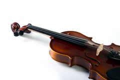 Violin front view on white. stock photo