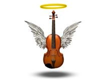 Violin with wings and halo Royalty Free Stock Photos