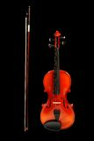 Violin With Bow On Black Royalty Free Stock Photo
