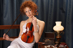 Violin woman Stock Image