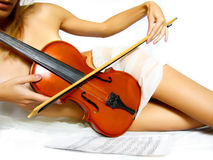 Violin woman Royalty Free Stock Photography