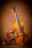 Violin with Wood carving Royalty Free Stock Photos