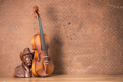Violin with Wood carving Royalty Free Stock Photo
