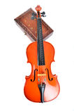 Violin with wooden box Stock Photography