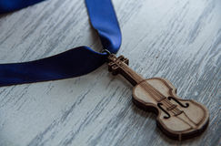 Violin on wooden grey background Stock Photography