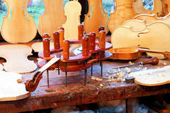 Violin workbench Royalty Free Stock Photo