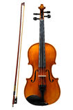 Violine mit dem Bogen lokalisiert auf Weiß Lizenzfreie Stockfotografie
