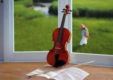 Violine und Fenster Stockbild