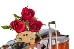 Violine und rote Rosen Stockfotografie