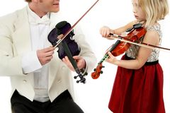 Violinen-Lektion Lizenzfreie Stockbilder