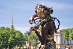 Violinen-Spieler St- Petersburgstadtpanorama Stockbilder