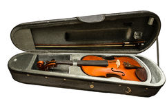 Violinenkasten und Violine getrennt auf weißem Hintergrund Lizenzfreies Stockbild