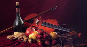 Violines panorámicos de la imagen con un arco en un fondo del clarete al lado de una botella de vino viejo y de fruta mojada Imagenes de archivo