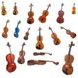 Violini e un archetto Fotografia Stock Libera da Diritti