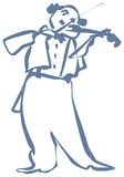 Violinist. Vector image, Fiddler, A man playing music on a violin Royalty Free Stock Photos