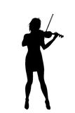 Violinist. Black silhouette of violinist isolate on a white Royalty Free Stock Image