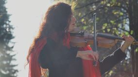 Violinist begins to play. Woman violinist in the forest. stock footage