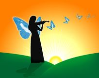 Violinist & Butterflies Royalty Free Stock Photos