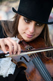 Violinist, close portrait. Close look portrait of violinist Stock Photos
