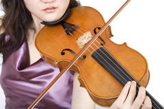 Violinist closeup 5. With lips stock images