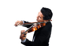 Violinist. Closeup Thai violinist playing his violin over white background Royalty Free Stock Photography