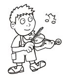Violinist, coloring book Stock Image